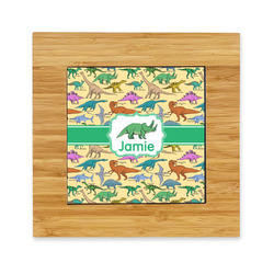 Dinosaurs Bamboo Trivet with Ceramic Tile Insert (Personalized)