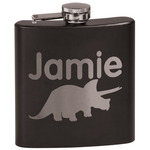 Dinosaurs Black Flask (Personalized)
