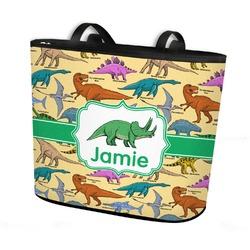 Dinosaurs Bucket Tote w/ Genuine Leather Trim (Personalized)