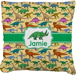 """Dinosaurs Faux-Linen Throw Pillow 16"""" (Personalized)"""