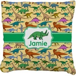 Dinosaurs Faux-Linen Throw Pillow (Personalized)