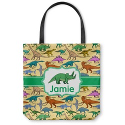 "Dinosaurs Canvas Tote Bag - Small - 13""x13"" (Personalized)"