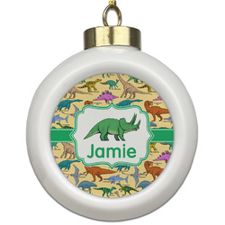 Dinosaurs Ceramic Ball Ornament (Personalized)