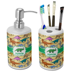 Dinosaurs Bathroom Accessories Set (Ceramic) (Personalized)