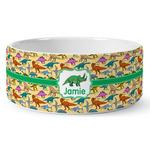 Dinosaurs Ceramic Dog Bowl (Personalized)