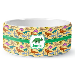 Dinosaurs Ceramic Pet Bowl (Personalized)