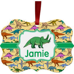 Dinosaurs Metal Frame Ornament - Double Sided w/ Name or Text