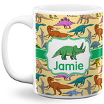 Dinosaurs 11 Oz Coffee Mug - White (Personalized)