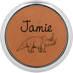 Dinosaurs Leatherette Round Coaster w/ Silver Edge - Single or Set (Personalized)