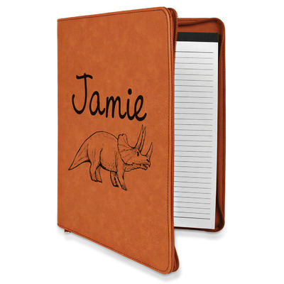 Dinosaurs Leatherette Zipper Portfolio with Notepad (Personalized)