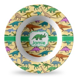 Dinosaurs Plastic Bowl - Microwave Safe - Composite Polymer (Personalized)