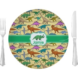 "Dinosaurs Glass Lunch / Dinner Plates 10"" - Single or Set (Personalized)"