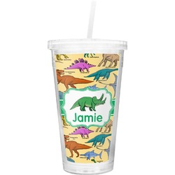 Dinosaurs Double Wall Tumbler with Straw (Personalized)