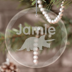 Dinosaurs Engraved Glass Ornament (Personalized)