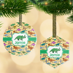 Dinosaurs Flat Glass Ornament w/ Name or Text