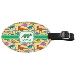 Dinosaurs Genuine Leather Oval Luggage Tag (Personalized)