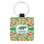 Dinosaurs Genuine Leather Rectangular Keychain (Personalized)