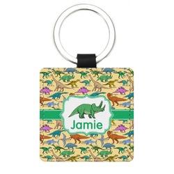 Dinosaurs Genuine Leather Rectangular Keychain (Personalized)