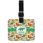 Dinosaurs Genuine Leather Rectangular  Luggage Tag (Personalized)