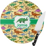 Dinosaurs Round Glass Cutting Board (Personalized)