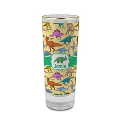 Dinosaurs 2 oz Shot Glass - Glass with Gold Rim (Personalized)