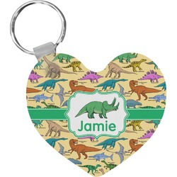 Dinosaurs Heart Plastic Keychain w/ Name or Text