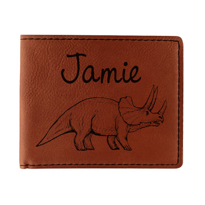 Dinosaurs Leatherette Bifold Wallet (Personalized)
