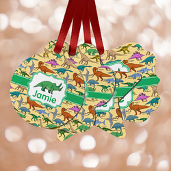 Dinosaurs Metal Ornaments - Double Sided w/ Name or Text