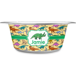 Dinosaurs Stainless Steel Pet Bowl - Medium (Personalized)