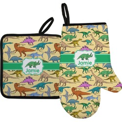 Dinosaurs Oven Mitt & Pot Holder Set w/ Name or Text