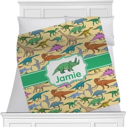 "Dinosaurs Fleece Blanket - Twin / Full - 80""x60"" - Single Sided (Personalized)"