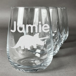 Dinosaurs Stemless Wine Glasses (Set of 4) (Personalized)