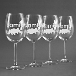 Dinosaurs Wine Glasses (Set of 4) (Personalized)