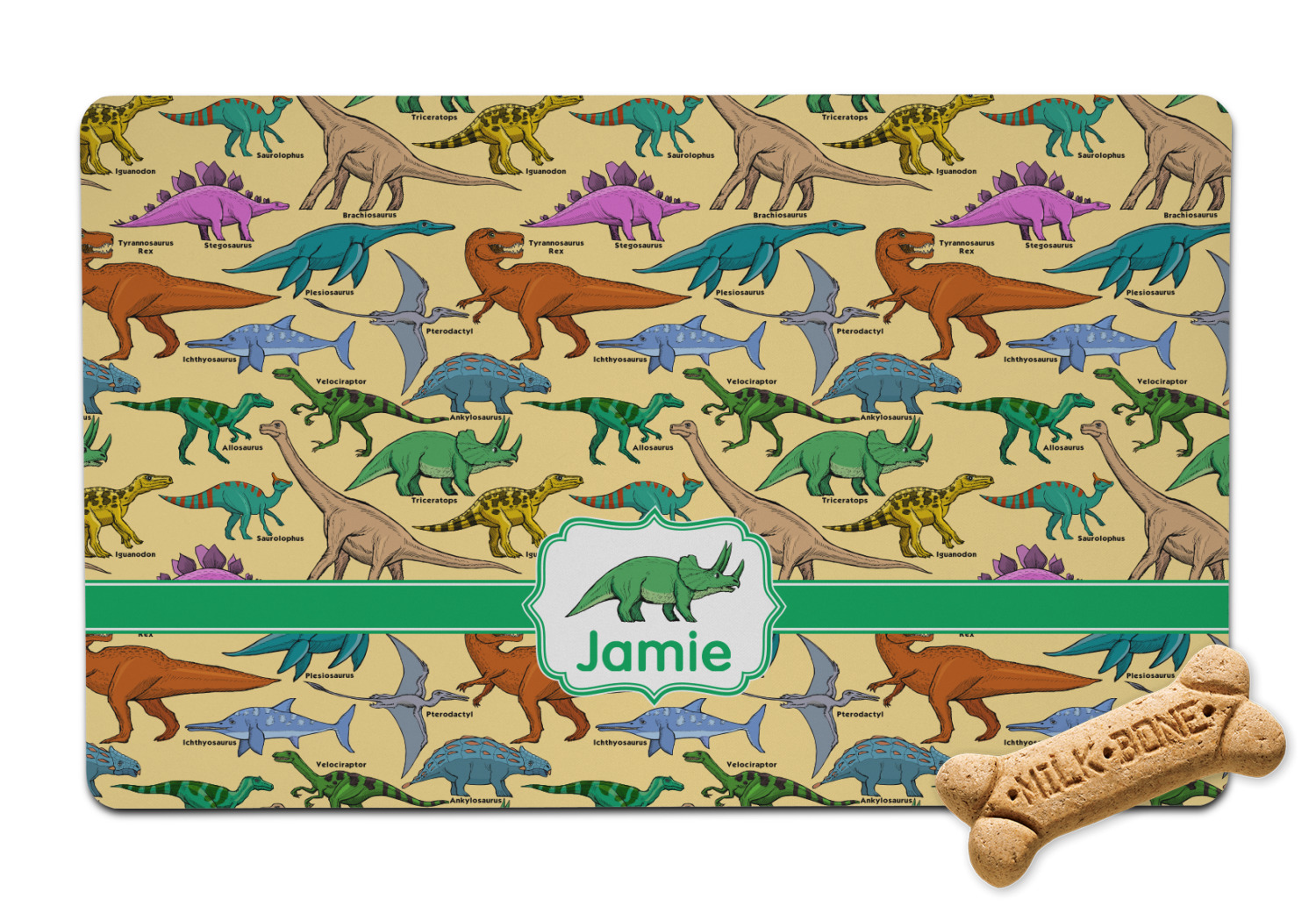 youcustomizeit dinosaurs p food mats mat pet personalized bowl