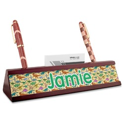 Dinosaurs Red Mahogany Nameplate with Business Card Holder (Personalized)