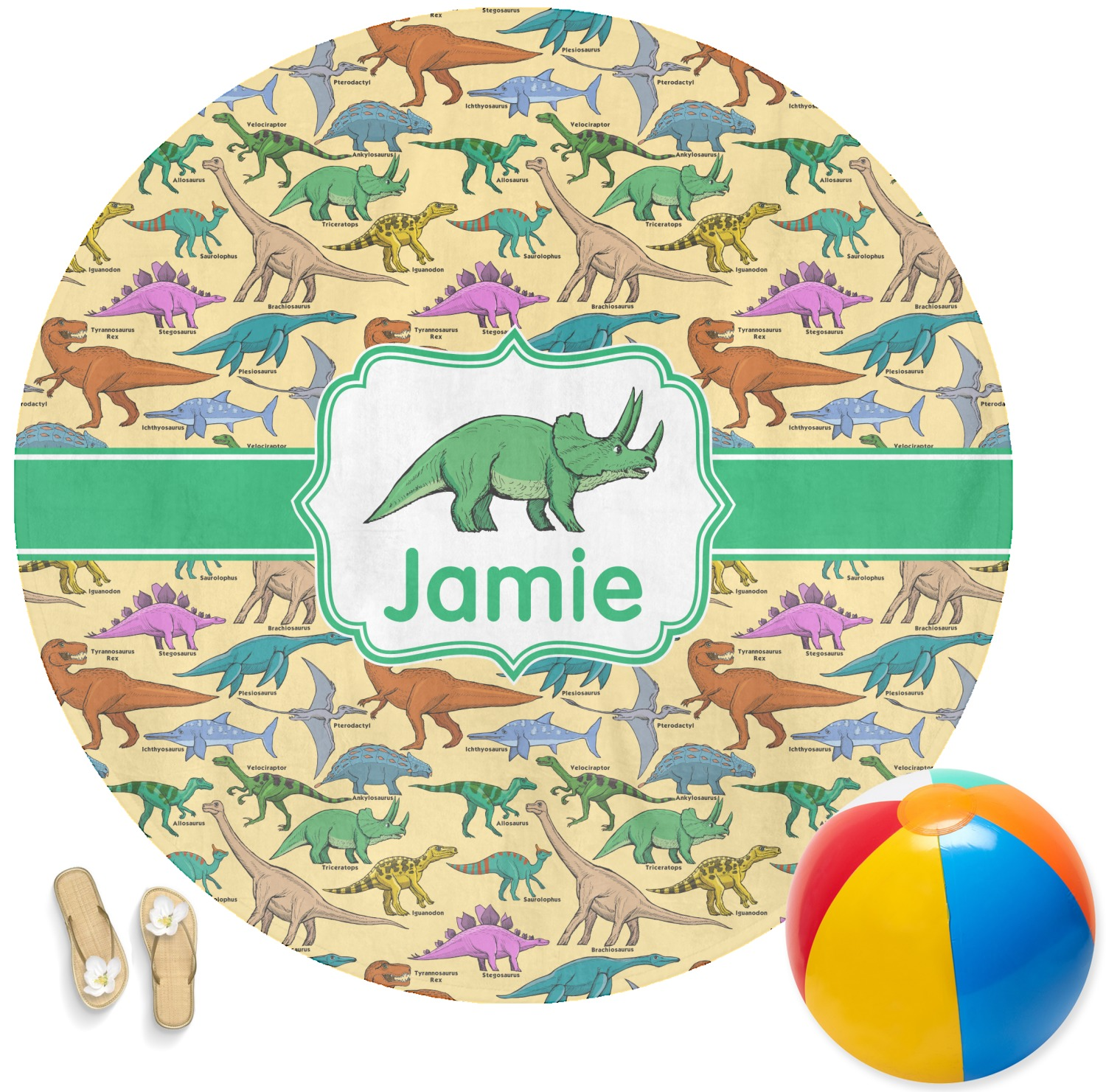 Dinosaurs Round Beach Towel Personalized Youcustomizeit