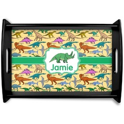 Dinosaurs Black Wooden Tray (Personalized)