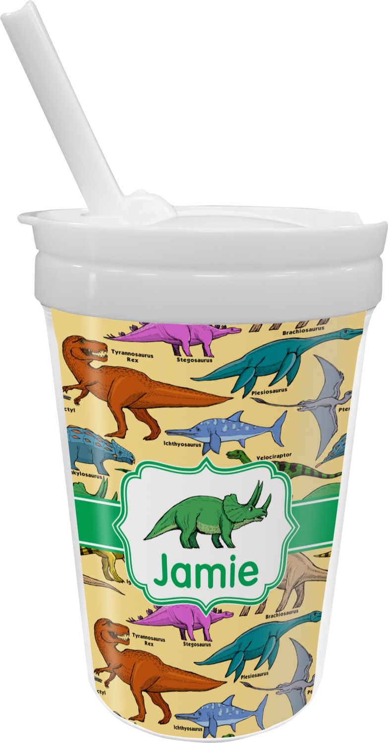 Dinosaurs Sippy Cup With Straw Personalized Youcustomizeit