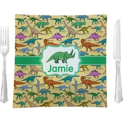 "Dinosaurs Glass Square Lunch / Dinner Plate 9.5"" - Single or Set of 4 (Personalized)"