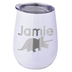 Dinosaurs Stemless Wine Tumbler - 5 Color Choices - Stainless Steel  (Personalized)