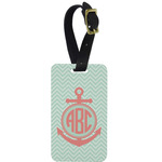 Chevron & Anchor Metal Luggage Tag w/ Monogram