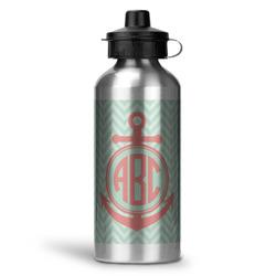 Chevron & Anchor Water Bottle - Aluminum - 20 oz (Personalized)