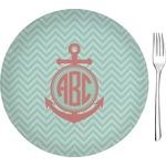"Chevron & Anchor Glass Appetizer / Dessert Plates 8"" - Single or Set (Personalized)"