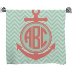 Chevron & Anchor Full Print Bath Towel (Personalized)