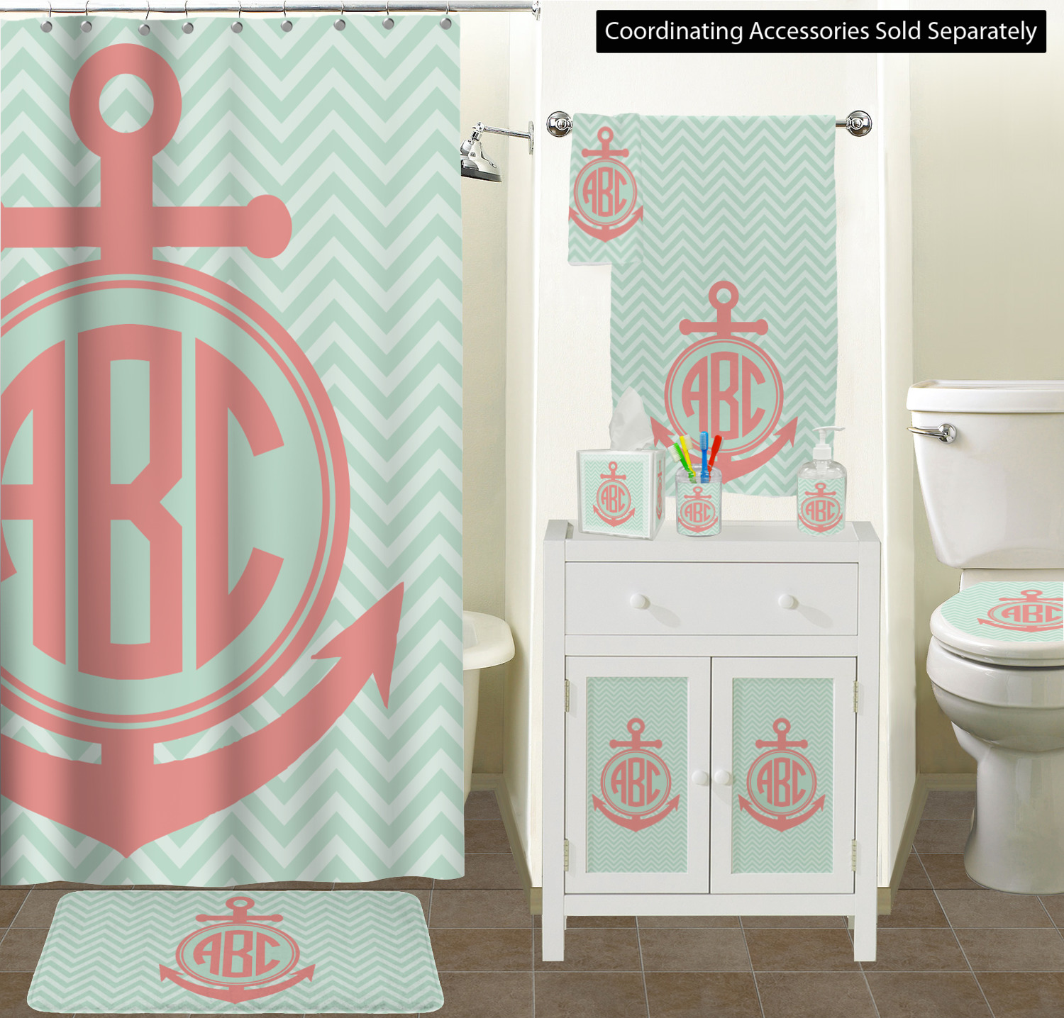 ... Chevron U0026 Anchor Bathroom Scene ...