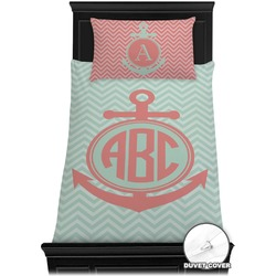 Chevron & Anchor Duvet Cover Set - Twin (Personalized)
