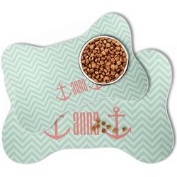 Chevron & Anchor Bone Shaped Dog Food Mat (Personalized)