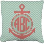 Chevron & Anchor Faux-Linen Throw Pillow (Personalized)