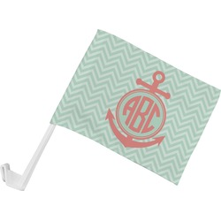 Chevron & Anchor Car Flag (Personalized)