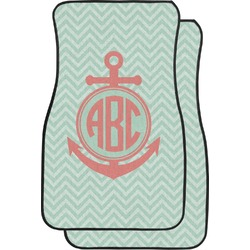 Chevron & Anchor Car Floor Mats (Front Seat) (Personalized)